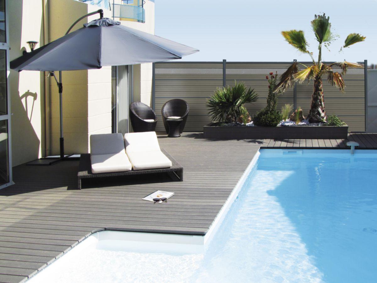 Attrayant Lame De Terrasse Deck Bois Composite Elégance Gris Anthracite Lisse  23x138mm Réelle 23x138x4000mm ...