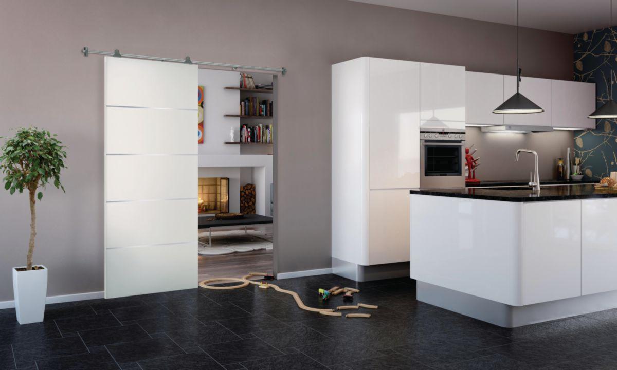 Porte coulissante Griff'Inox laquée blanc Jeld-Wen - 204x73 cm