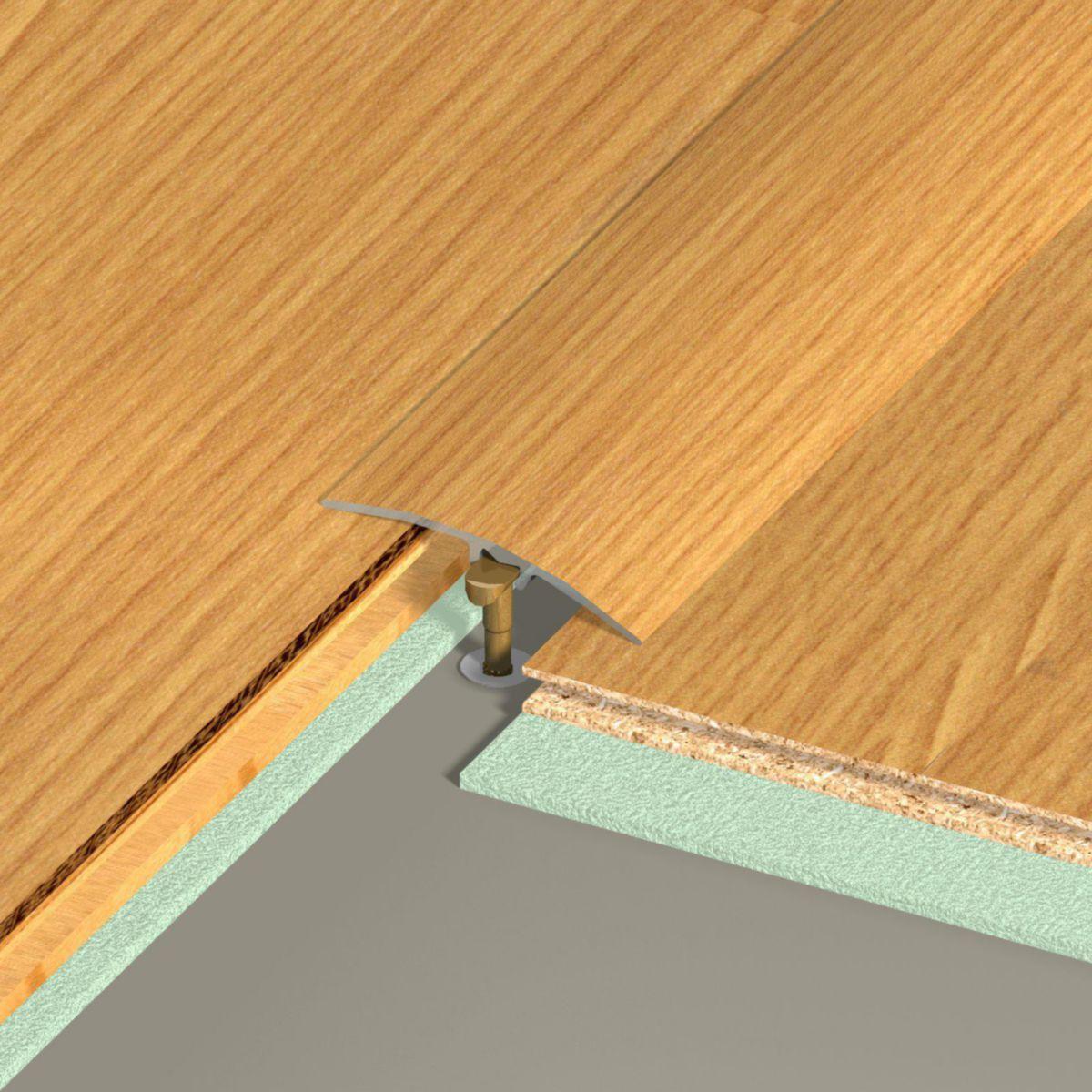Seuil De Porte Différence De Niveau barre de seuil de porte multi-niveaux harmony aluminium plaxé teinte chêne  41x2700 mm