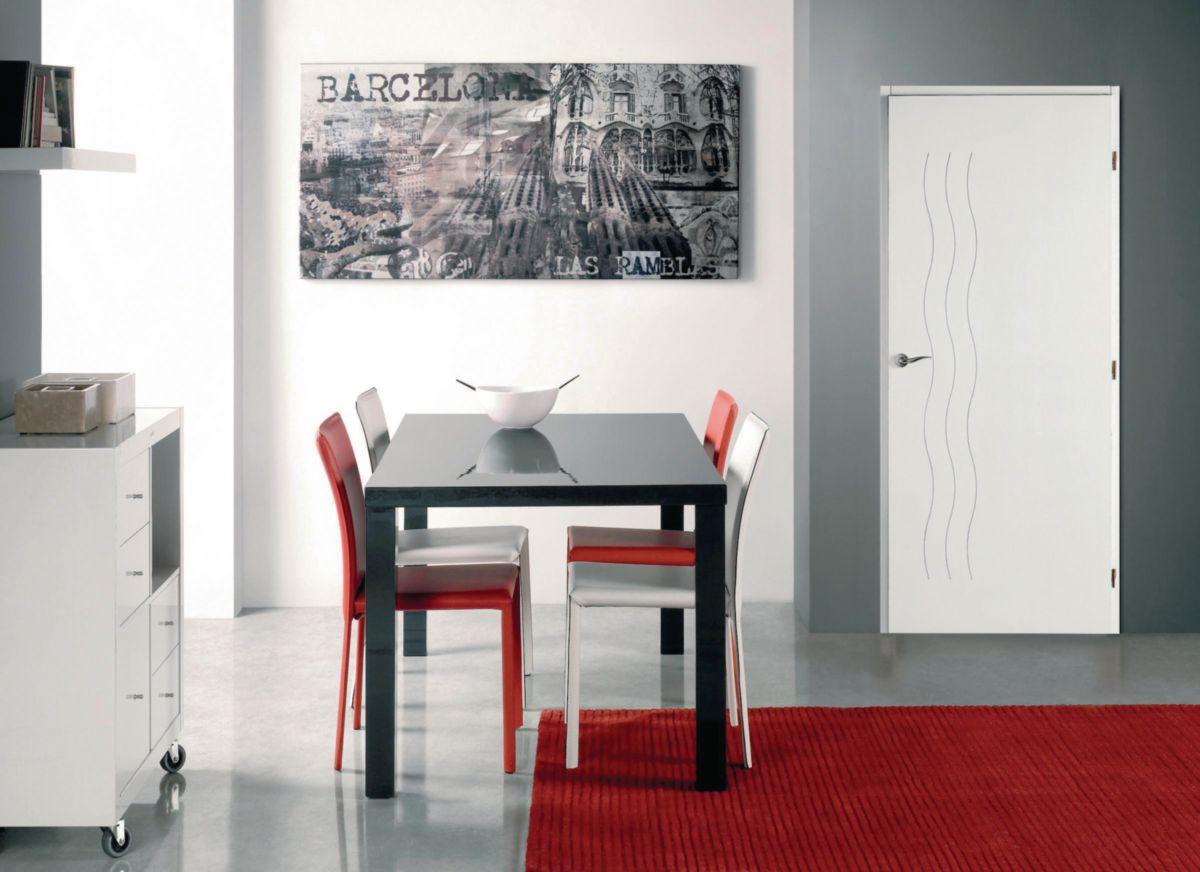 Bloc-porte alvéolaire huisserie Perf+ 86 mm Cascade Moderna blanc Jeld-Wen - 204x73 cm poussant droit