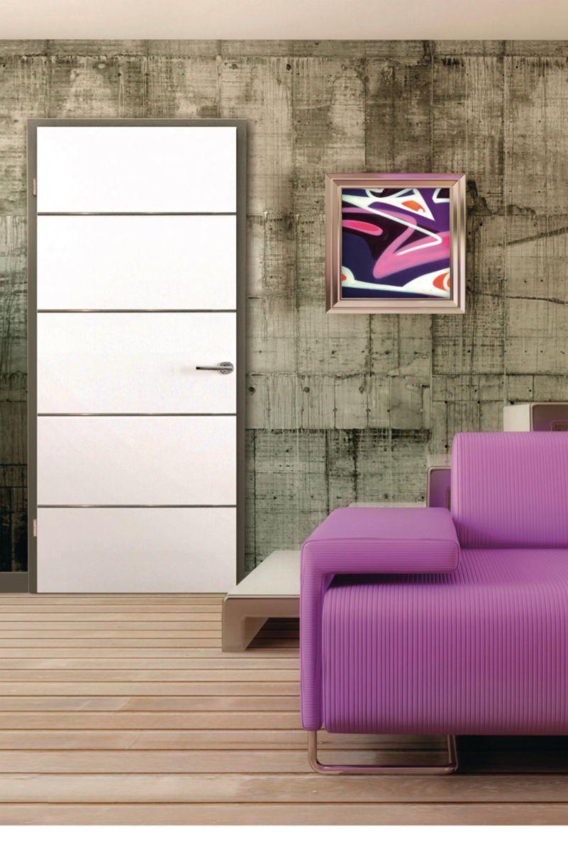 Bloc-porte alvéolaire prépeint Escale M - huisserie Créaconfort H90 - poussant droit - 204x83 cm