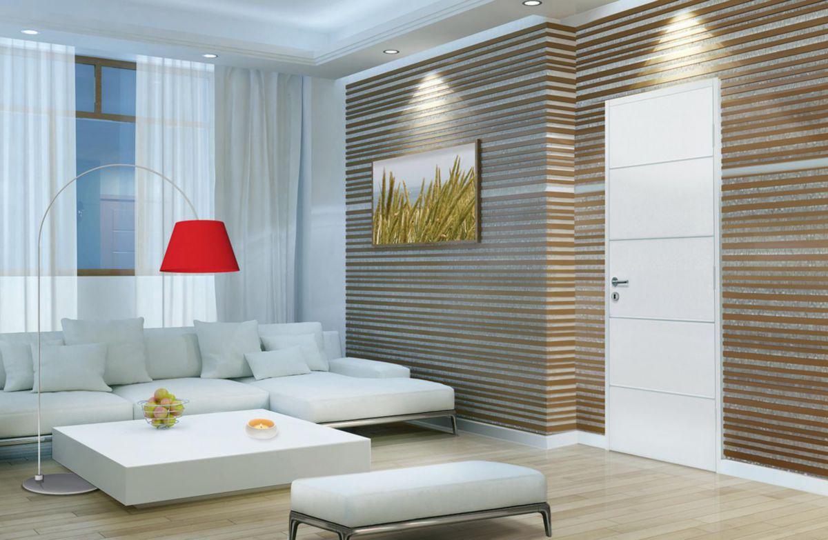 Bloc-porte alvéolaire prépeint Escale M - huisserie Créaconfort H90 - poussant gauche - 204x83 cm
