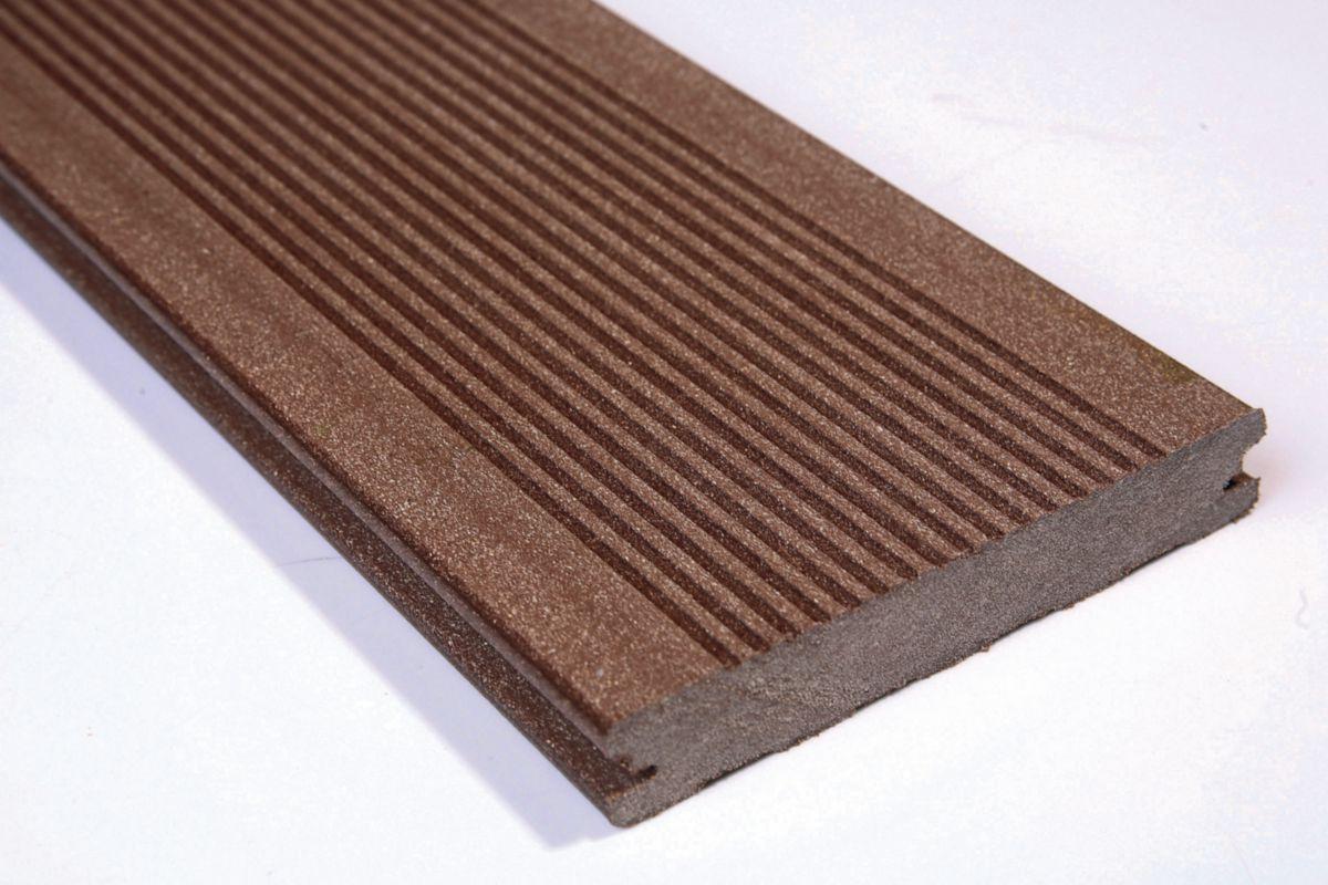 Lame De Terrasse Deck Bois Composite Elegance Brun Exotique Rainure 23x138mm Reelle 23x138x4000mm