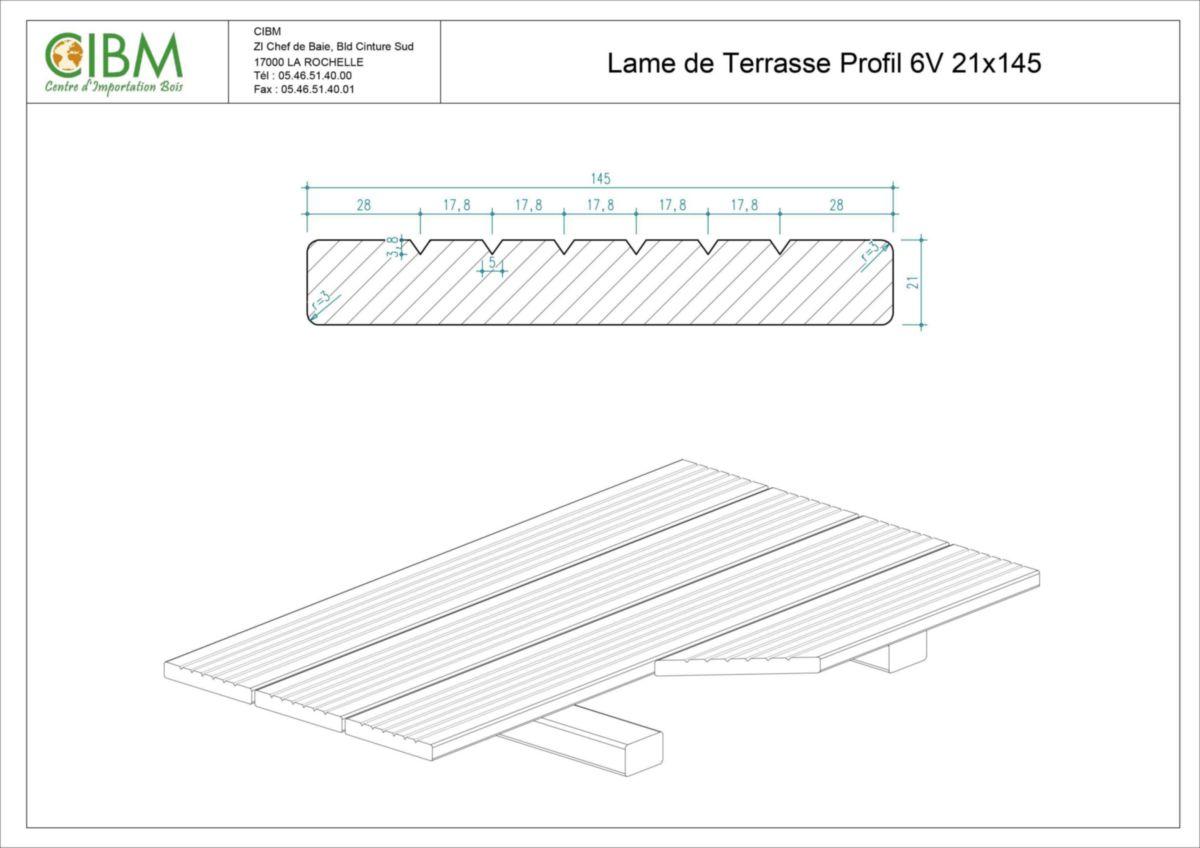 Lame De Terrasse Cumaru Sec Séchoir 6 Rainures En V 21x145mm