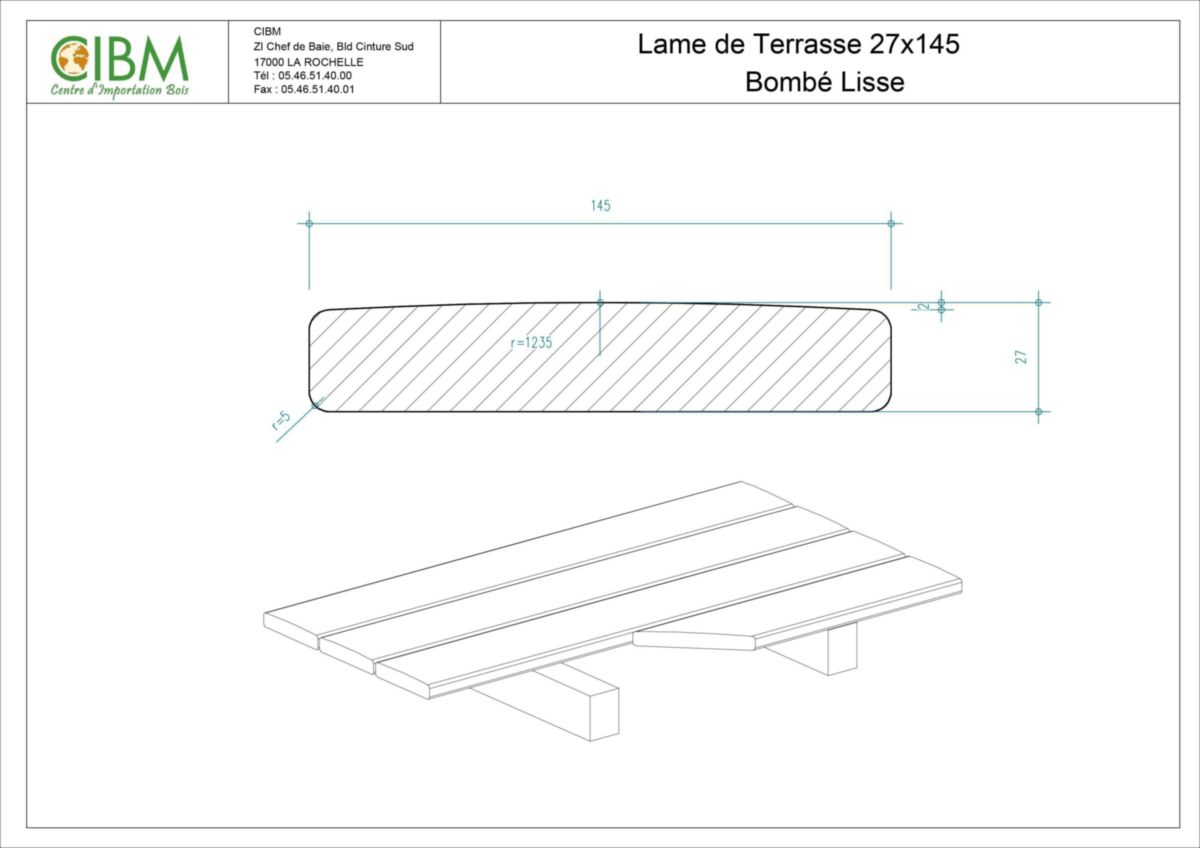 Lame De Terrasse Douglas Choix Select 1 Face Bombé 27x145mm